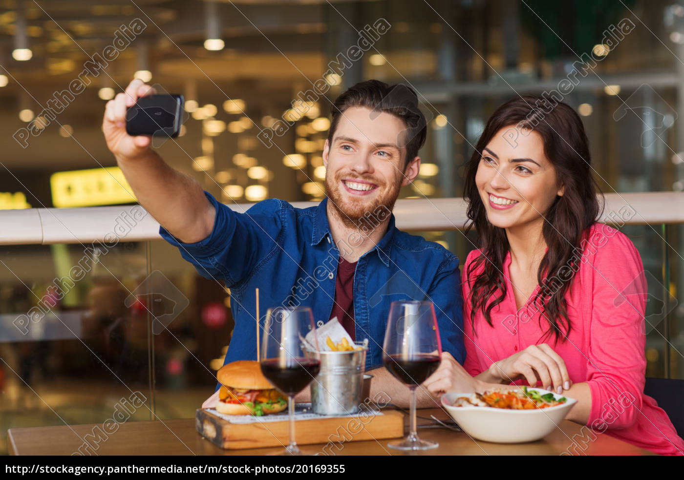couple, taking, selfie, by, smartphone, at - 20169355
