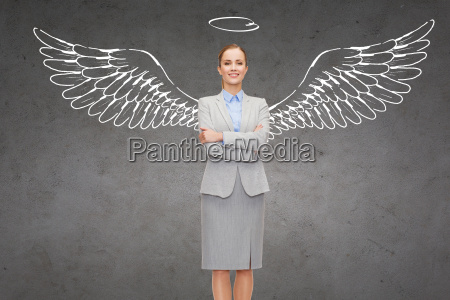 happy, businesswoman, with, angel, wings, and - 20169343