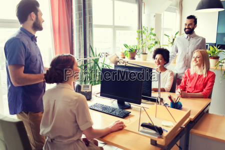 happy, creative, team, talking, in, office - 20169899
