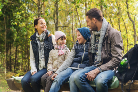 happy, family, sitting, on, bench, and - 20169399