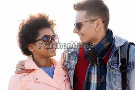 happy, teenage, friends, in, shades, talking - 20169391