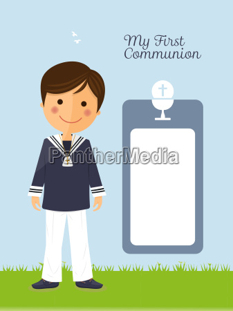 first communion child on vertical card