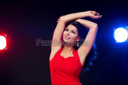 beautiful, sexy, woman, in, red, dancing - 20171571