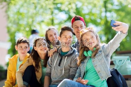 happy, teenage, students, taking, selfie, by - 20171145