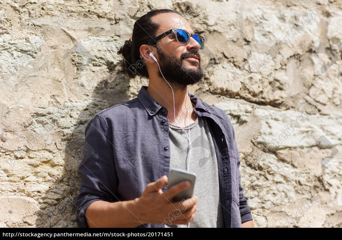 man, with, earphones, and, smartphone, listening - 20171451
