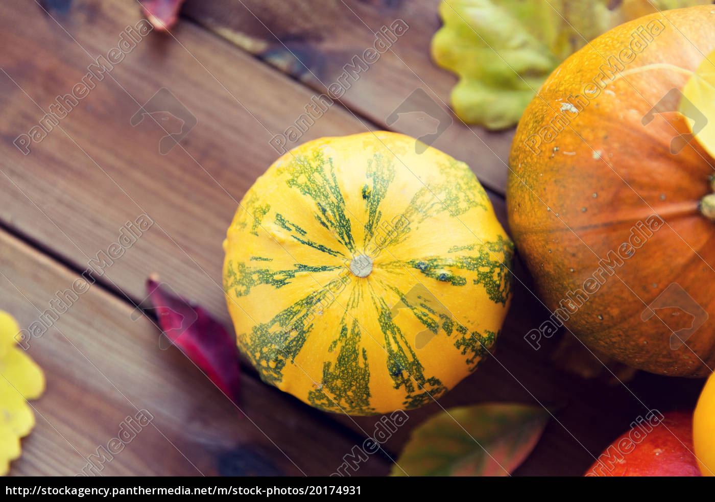 close, up, of, pumpkins, on, wooden - 20174931
