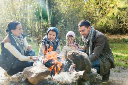 happy, family, roasting, marshmallow, over, campfire - 20174701