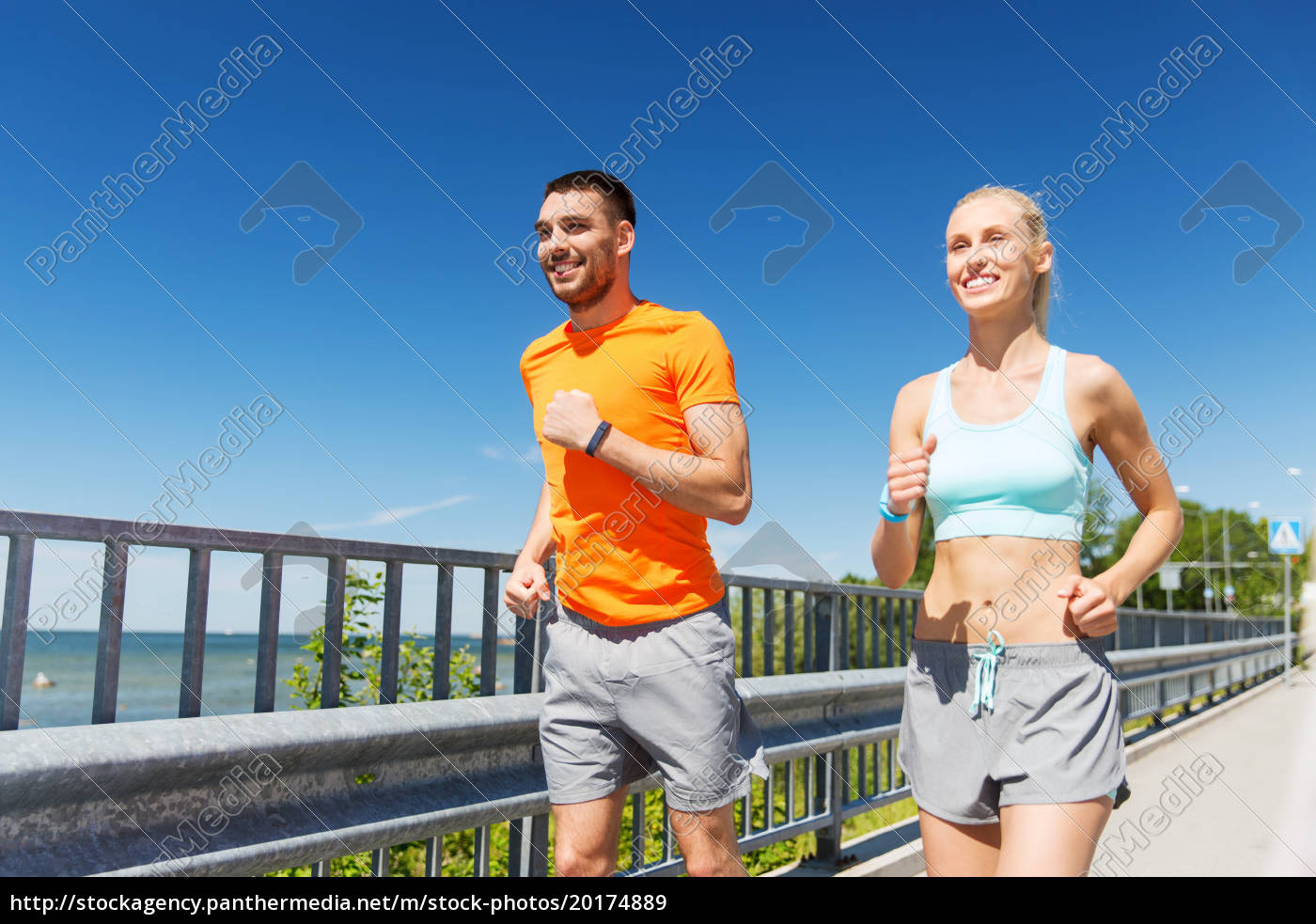 smiling, couple, running, at, summer, seaside - 20174889