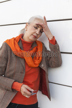portrait of fashionable mature woman with