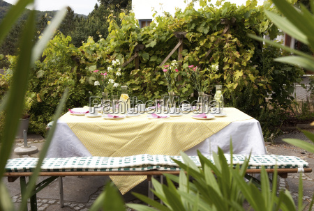laid table in garden decorated for
