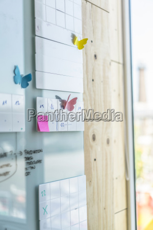 adhesive notes in shape of butterflies