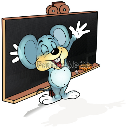 happy mouse before blackboard