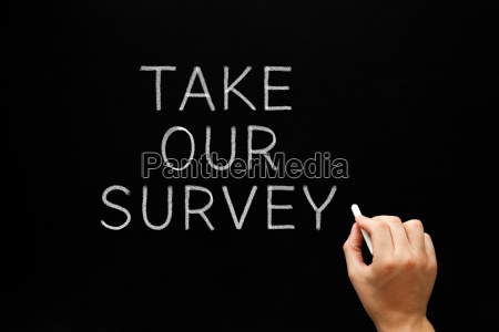 take our survey handwritten on chalkboard