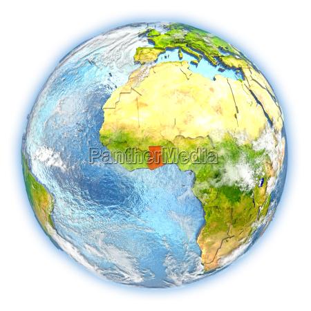 ghana on earth isolated