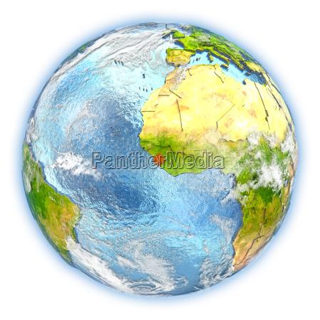 sierra leone on earth isolated