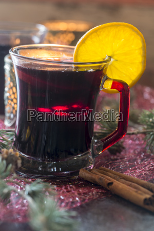 glass of mulled wine decorated with