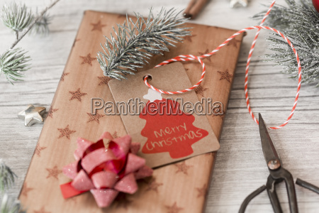 christmas decoration scissors and wrapped presents