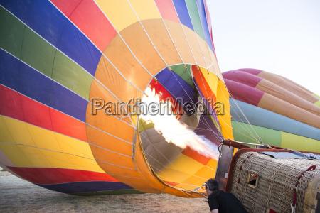 hot air ballon is being prepared