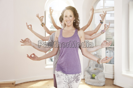 group of yoga people forming their