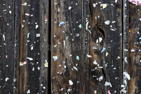 wooden wall with placard remains