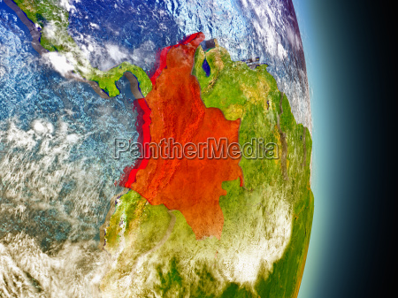 colombia in red from space