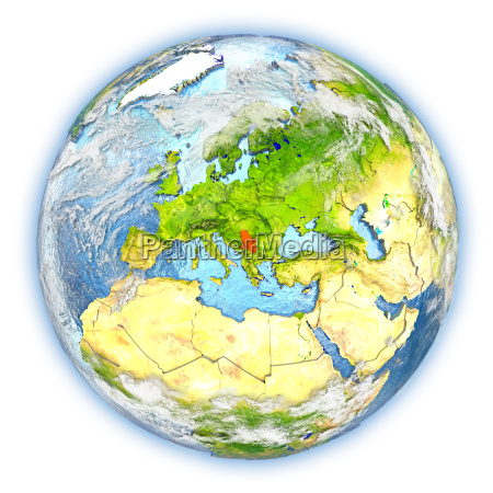 serbia on earth isolated