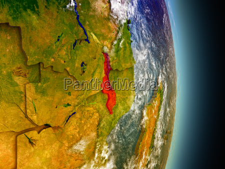 malawi in red from space