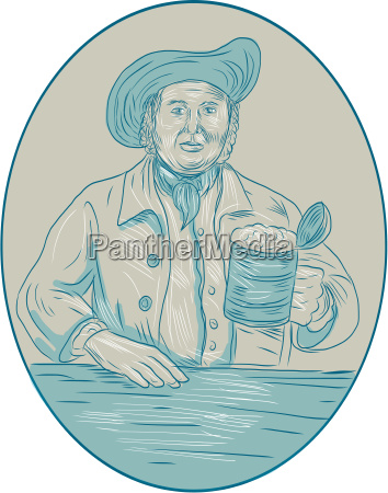 gentleman, beer, drinker, tankard, oval, drawing - 20219655