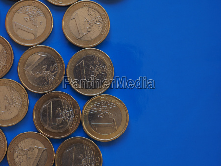 euro coins european union over blue