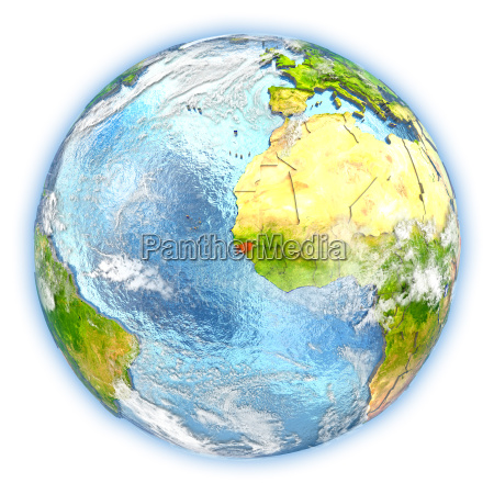 guinea bissau on earth isolated