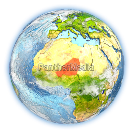 niger on earth isolated