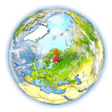 finland on earth isolated