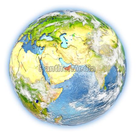 united arab emirates on earth isolated