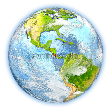 costa rica on earth isolated