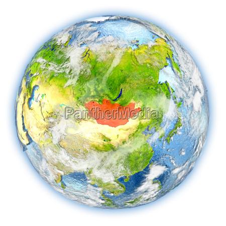 mongolia on earth isolated