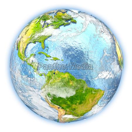 caribbean on earth isolated