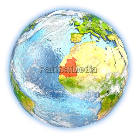 mauritania on earth isolated