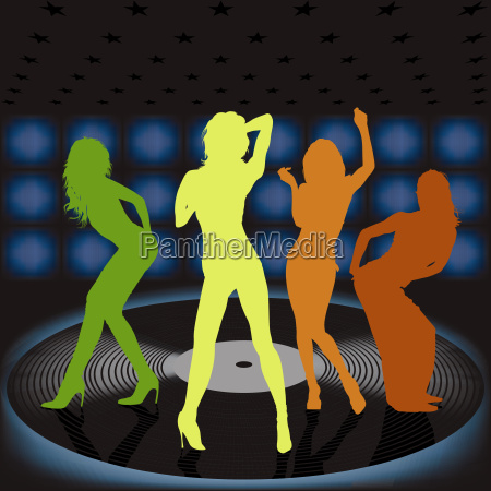 silhouetted women on vinyl record