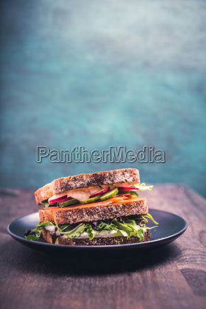 sandwich with salmon and fresh vegetables