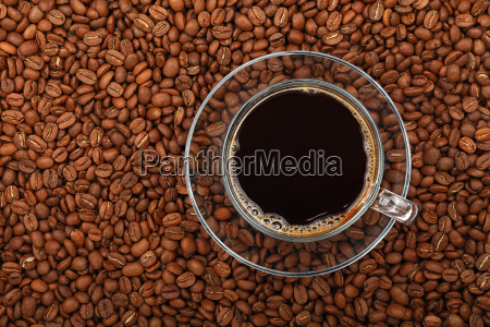 black coffee transparent full glass cup
