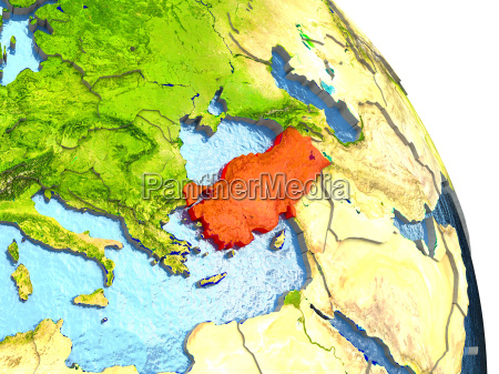 turkey on earth in red