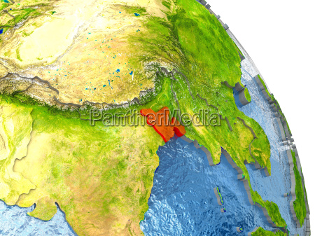 bangladesh on earth in red