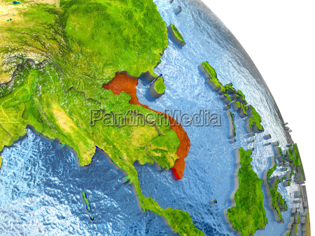 vietnam on earth in red