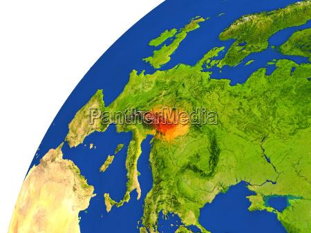 country of austria satellite view