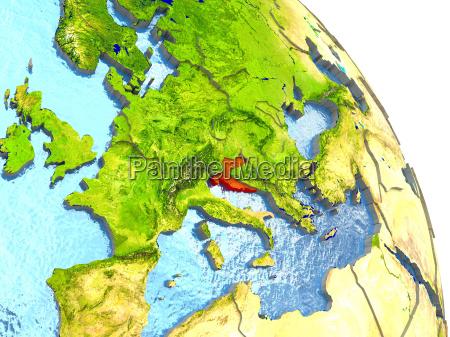 croatia on earth in red