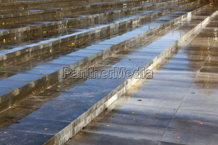 wet concrete steps