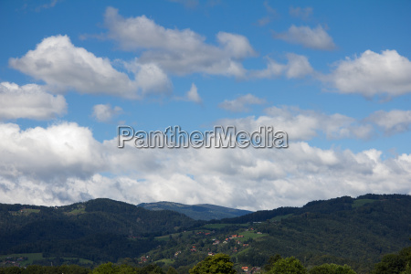 blue sky with clouds above a