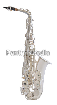 silver saxophone isolated on white background