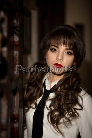 portrait of beautiful attractive upset serious