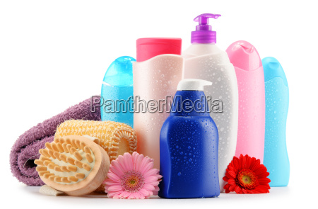 plastic bottles of body care and